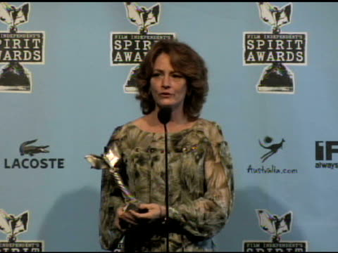 melissa leo at the film independent's 2009 spirit awards press room at los angeles ca. - independent feature project video stock e b–roll