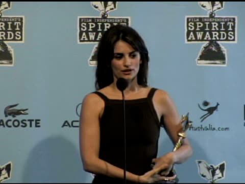 penelope cruz at the film independent's 2009 spirit awards press room at los angeles ca. - independent feature project video stock e b–roll
