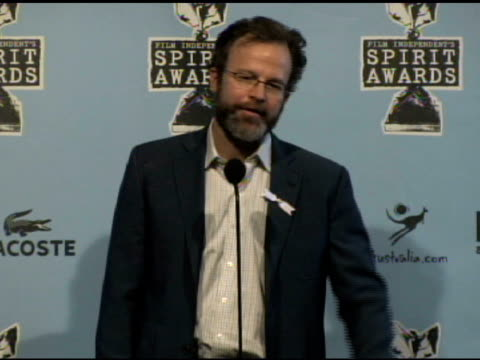 tom mccarthy at the film independent's 2009 spirit awards press room at los angeles ca. - independent feature project video stock e b–roll