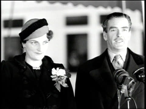 Press stops British Prime Minister Anthony Eden and his wife Beatrice as they embark a ship / he announces how much they've enjoyed their visit with...