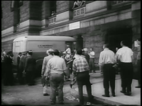press surrounding soviet spy, colonel rudolf abel, being arrested / newsreel - 1957 stock videos & royalty-free footage