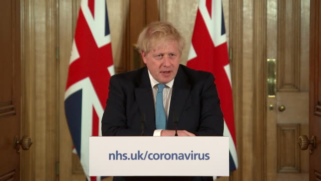 presser boris johnson pm about coronavirus pandemic we can turn the tide within the next 12 weeks but only if we take the steps outlined - press room stock videos & royalty-free footage