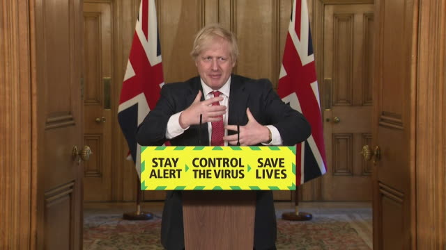 "presser boris johnson pm, about easing coronavirus lockdown restrictions ""it's when you come to take small steps back to normality that the message... - complexity stock videos & royalty-free footage"