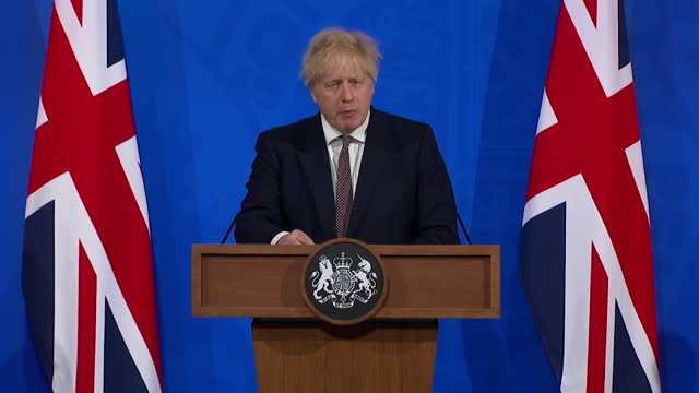"""presser boris johnson pm, about moving onto the next stage of the coronavirus lockdown roadmap where indoor hospitality is allowed """"this amount to a... - hd format stock videos & royalty-free footage"""