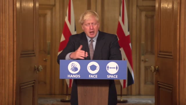 presser boris johnson pm, about reviewing returning audiences to sporting events and theatres as new coronavirus measures, the rule of 6, are brought... - instructions stock videos & royalty-free footage