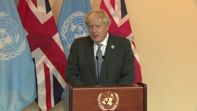 presser boris johnson pm, addresses press about the need for the developed world to fight climate change to help the developing world, after un... - speech stock videos & royalty-free footage
