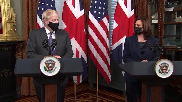 presser boris johnson pm and us vice president kamala harris, during their meeting at the white house, about the usa's commitment to dealing with... - dedication stock videos & royalty-free footage