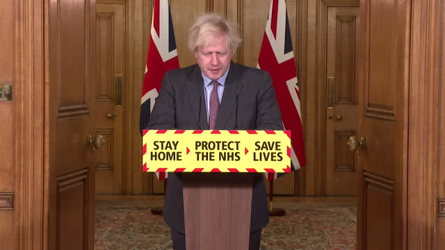"""presser boris johnson pm, offers his """"deepest condolences"""" to everybody who has lost a loved one as the uk surpasses 100,000 deaths from coronavirus - care stock videos & royalty-free footage"""