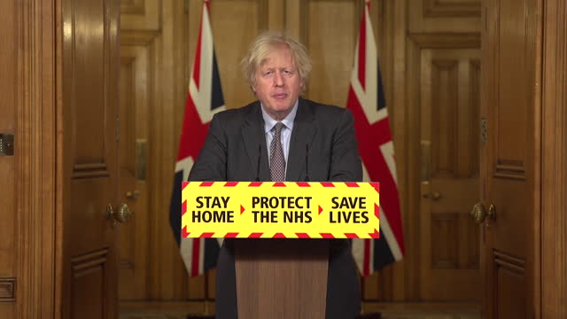 presser boris johnson pm, setting out coronavirus lockdown exit roadmap for england, about non essential shops, and pubs and restaurants opening... - spa stock videos & royalty-free footage