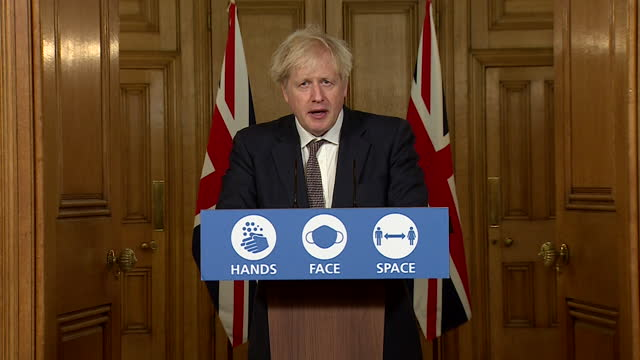 """presser boris johnson pm, urging caution over how people spend christmas during the coronavirus pandemic """"a smaller shorter christmas is a safer... - boris johnson stock videos & royalty-free footage"""
