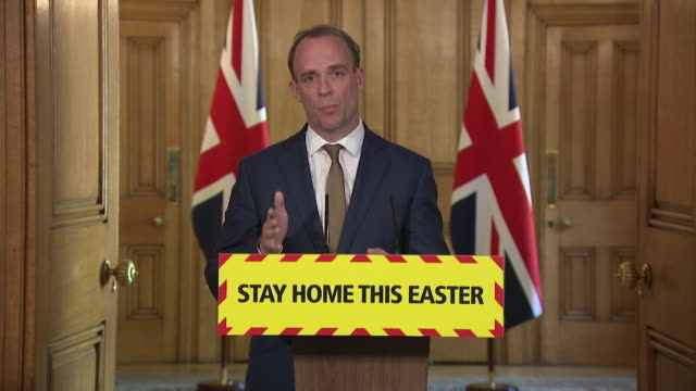 presser dominic raab mp first secretary of state about continuing coronavirus lockdown if we keep up this team effort we will beat the virus and come... - cupboard stock videos & royalty-free footage