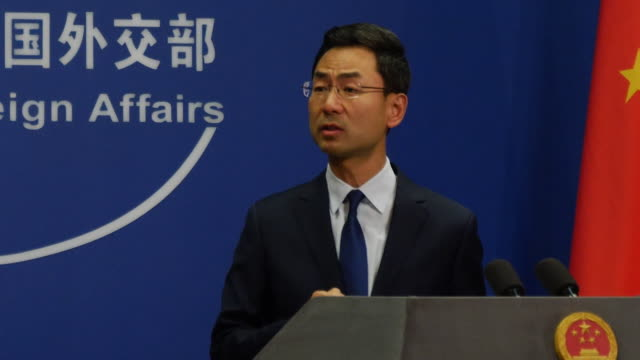 presser geng shuang chinese foreign ministry on uk's reaction to simon cheng's detention we hope the uk will stop interfering in china's affairs or... - torture stock videos & royalty-free footage