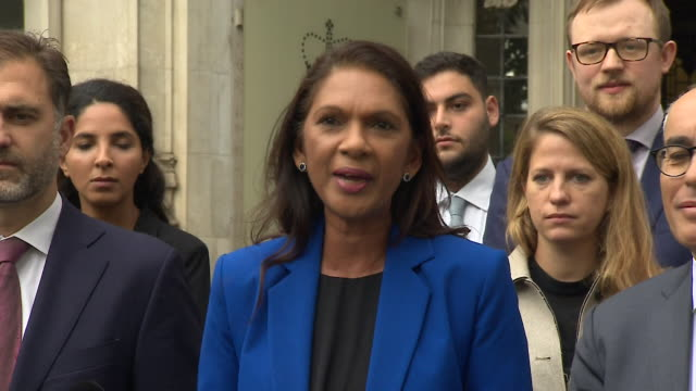 presser gina miller outside the supreme court about the unlawful prorogation ruling mp's must get back and be brave and bold in holding this... - united nations stock videos & royalty-free footage