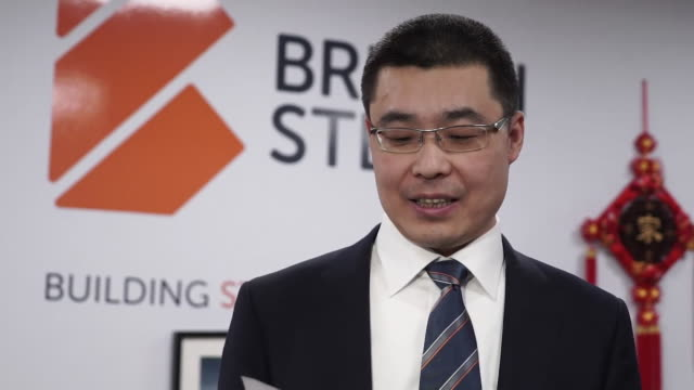 presser li huiming chief executive jingye group on buying british steel i am pleased to announge jingye group have complete the acquisition of... - metal industry stock videos & royalty-free footage