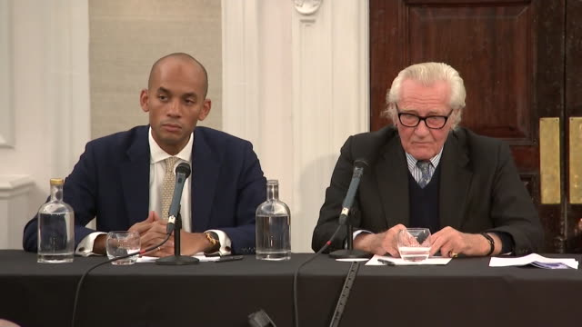 presser lord heseltine at liberal democrat press conference criticises the party's flagship policy of revoking article 50 as na•ve - innocenza video stock e b–roll