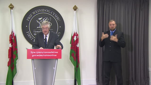 presser mark drakeford first minister of wales announces two week firebreak lockdown for the whole of wales to help tackle rising coronavirus cases - week stock videos & royalty-free footage