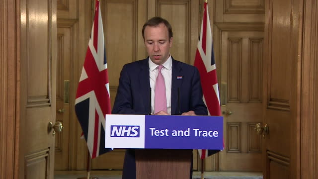 presser matt hancock mp health secretary about the nhs coronavirus test and trace system - shape stock videos & royalty-free footage