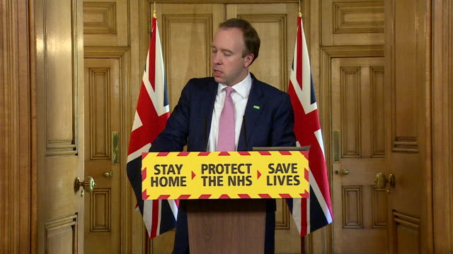 """presser matt hancock mp, health secretary, with coronavirus testing in care homes update """"we will make sure everyone with symptoms gets tested and... - flatten the curve stock videos & royalty-free footage"""
