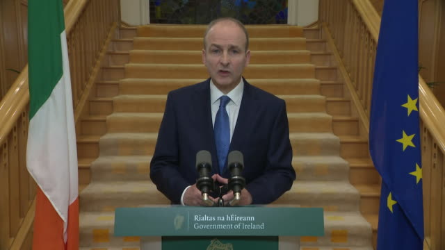 presser micheal martin taoiseach announces a six week national lockdown in republic of ireland to tackle rising coronavirus cases - week stock videos & royalty-free footage
