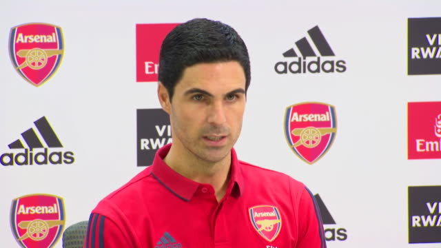 presser mikel arteta new manager of arsenal football club extremely happy and proud to be the manager of this football club - sportswear stock videos & royalty-free footage