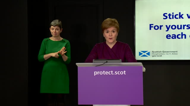 presser nicola sturgeon, first minister of scotland, about christmas during the coronavirus pandemic probably still having some restrictions in place - member of the scottish parliament stock videos & royalty-free footage
