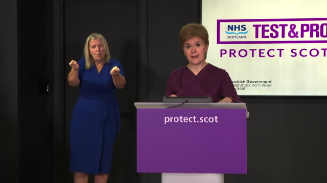 """presser nicola sturgeon first minister of scotland about restrictions as coronavirus cases rise 'implementing further measures is about controlling... - """"bbc news"""" stock videos & royalty-free footage"""