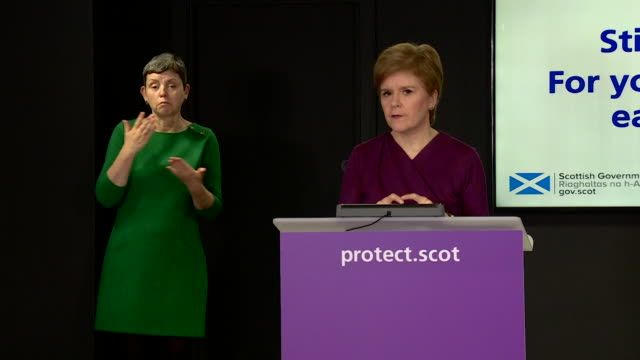 presser nicola sturgeon, first minister of scotland, about santa claus being a key worker during the coronavirus pandemic and christmas presents will... - member of the scottish parliament stock videos & royalty-free footage