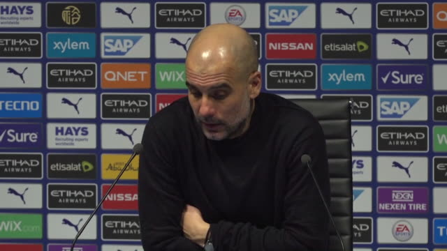presser pep guardiola manchester city manager about their 2 year european club competition ban when you believe you are right you have to fight till... - football team stock videos & royalty-free footage