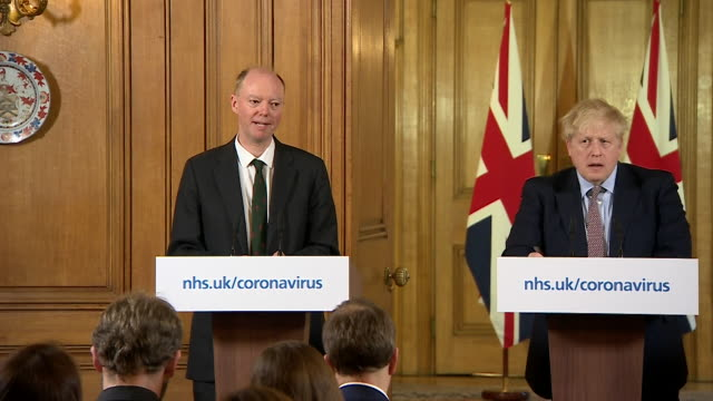 presser professor chris whitty, uk chief medical adviser, at coronavirus update, announcing pregnant women are in the at risk group, along with... - boris johnson stock videos & royalty-free footage
