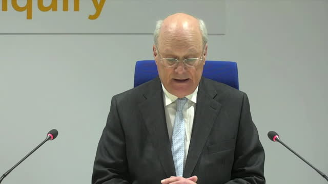 presser sir john saunders, chairman manchester arena public inquiry, about results of manchester arena terror attack inquiry - chair stock videos & royalty-free footage