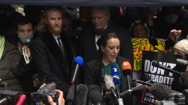 presser stella morris, julian assange's fiancee, after old bailey ruled julian assange can't be extradited to usa to face trial as he would be at... - north america stock videos & royalty-free footage