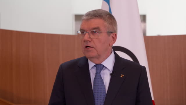 """presser thomas bach, ioc president, about coronavirus and the tokyo olympics 2020 """"we remain very confident with regard to the success of these... - """"bbc news"""" stock-videos und b-roll-filmmaterial"""
