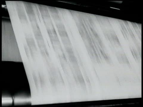 vídeos y material grabado en eventos de stock de presses rolling horn on wall presses slowing down stopping. 'bruno guilty must die' headlines. - 1935
