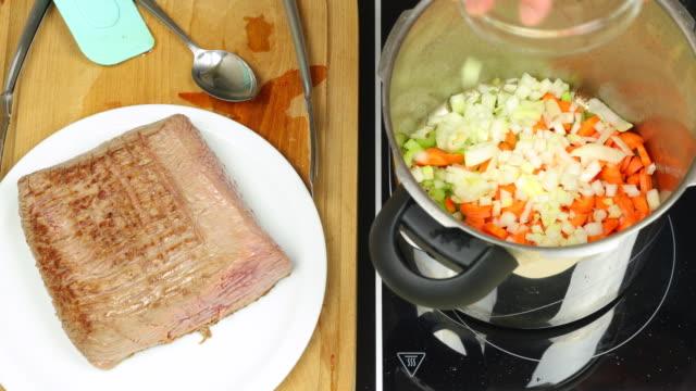 Pressure cooked beef brisket preparation.