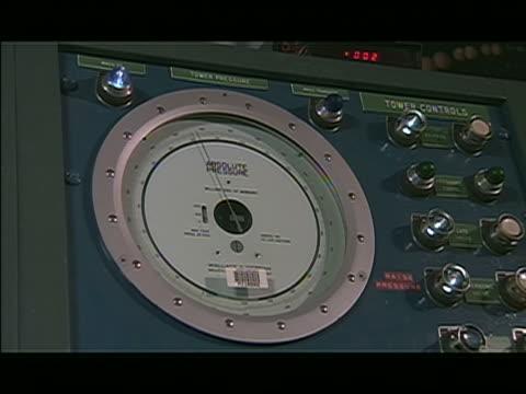 MS pressure gauge control panel, pressure gauge needle is moving. Getty Sub-Clip 01C