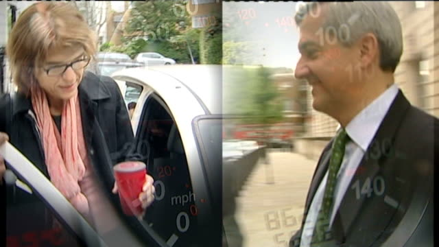 pressure growing on energy secretary chris huhne to resign dates unavailable shots showing chris huhne mp and his estranged wife vicky pryce - ビッキー・プライス点の映像素材/bロール