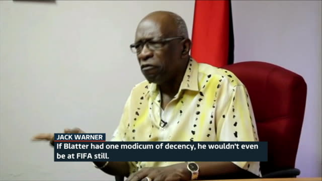 pressure grows on fifa president sepp blatter; trinidad : jack warner interview sot - if blatter had one modicum of decency he wouldn't even be at... - fifa stock videos & royalty-free footage