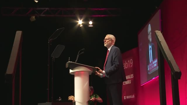 Pressure mounting on the government to ensure Julian Assange is extradited to Sweden WALES Clwyd Llandudno INT Various of Jeremy Corbyn MP speaking...