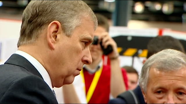 pressure on prince andrew grows over friendship with convicted sex offender london photography *** gvs prince andrew at trade fair and greeting... - ヨーク公 アンドルー王子点の映像素材/bロール