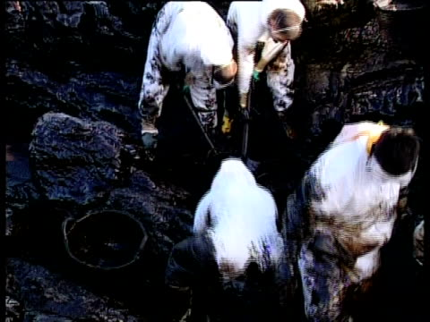 prestige tanker oil spill, 2002: clean-up team scraping oil off rocks, northwest coast of spain. - oil spill stock videos & royalty-free footage