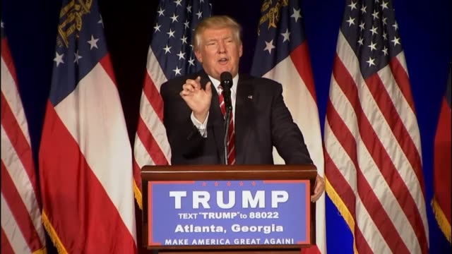 presumptive republican presidential candidate donald trump says in atlanta that nato is obsolete, its countries do not pay and america protects them,... - nato stock videos & royalty-free footage