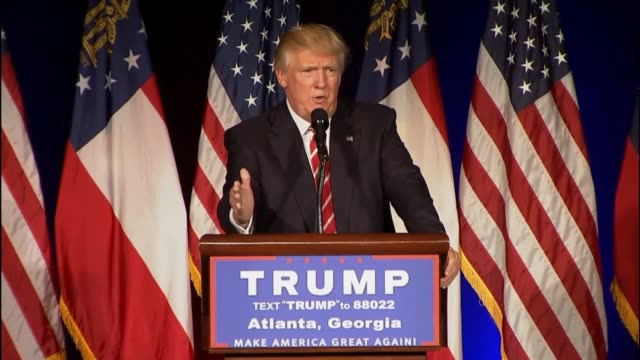 presumptive republican presidential candidate donald trump tells an atlanta audience that belgium is amazing place and is very beautiful he had once... - islam stock-videos und b-roll-filmmaterial