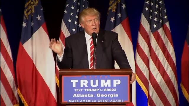 presumptive republican presidential candidate donald trump tells an atlanta audience that america is going down wrong path and is in serious trouble... - national rifle association stock videos & royalty-free footage