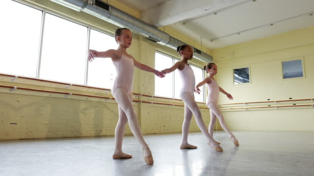Preteen ballerinas practicing dance routine