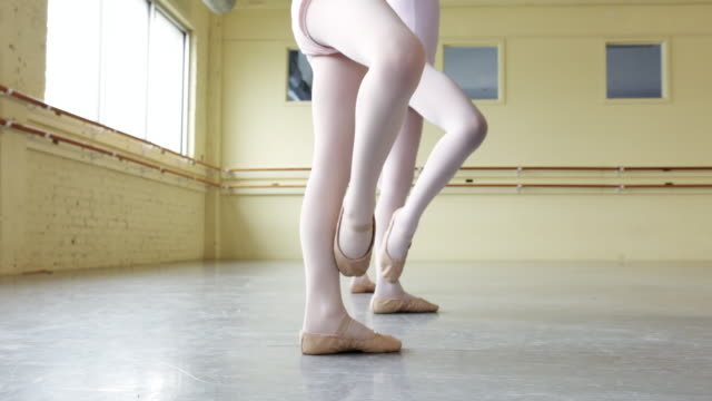 preteen ballerinas practicing form - low section stock videos & royalty-free footage