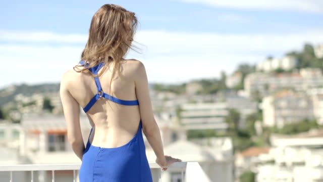 pretty adult female in summer on terrace - balcony stock videos and b-roll footage