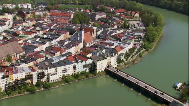 a pretty  village nestles on  the inn river in wasserburg, bavaria, germany. - inn river stock videos and b-roll footage