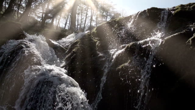 pretty waterfall in an ancient woodland in rural wales - river stock videos & royalty-free footage