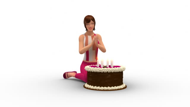 Pretty Woman Blowing Out Candles On Her Birthday