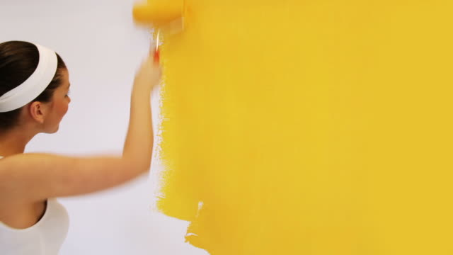 pretty woman painting - yellow stock videos & royalty-free footage